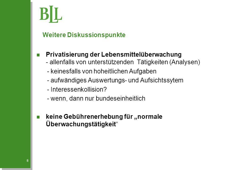 8 n Privatisierung der Lebensmittelüberwachung - allenfalls von unterstützenden Tätigkeiten (Analysen) - keinesfalls von hoheitlichen Aufgaben - aufwä