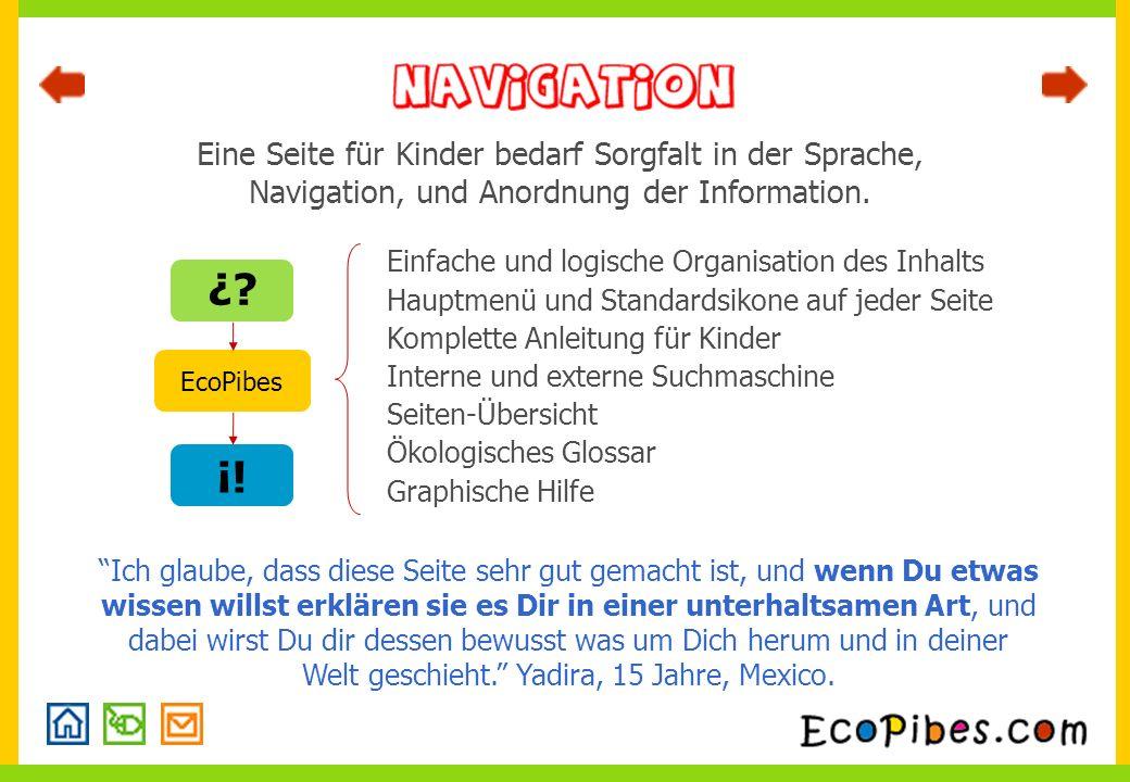Eine Seite für Kinder bedarf Sorgfalt in der Sprache, Navigation, und Anordnung der Information.