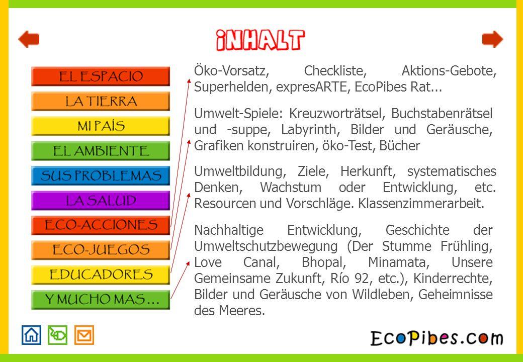 Öko-Vorsatz, Checkliste, Aktions-Gebote, Superhelden, expresARTE, EcoPibes Rat...