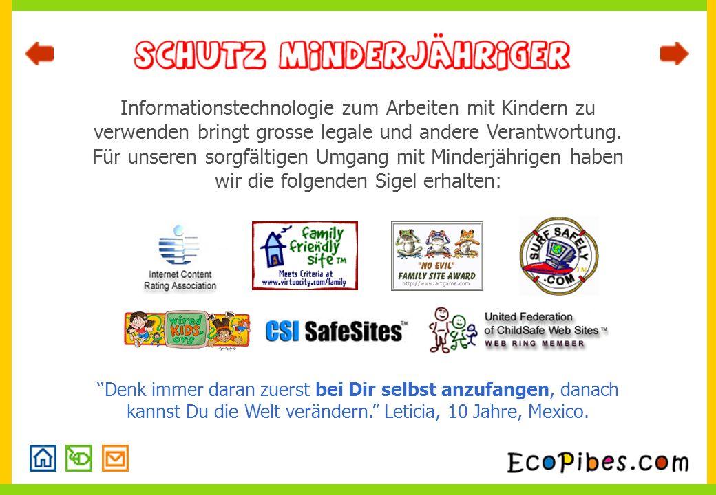 Informationstechnologie zum Arbeiten mit Kindern zu verwenden bringt grosse legale und andere Verantwortung.