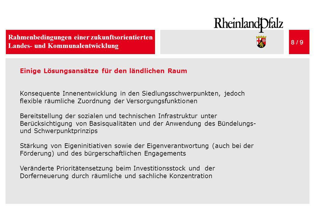 Rahmenbedingungen einer zukunftsorientierten Landes- und Kommunalentwicklung 8 / 9 Einige Lösungsansätze für den ländlichen Raum Konsequente Innenentw