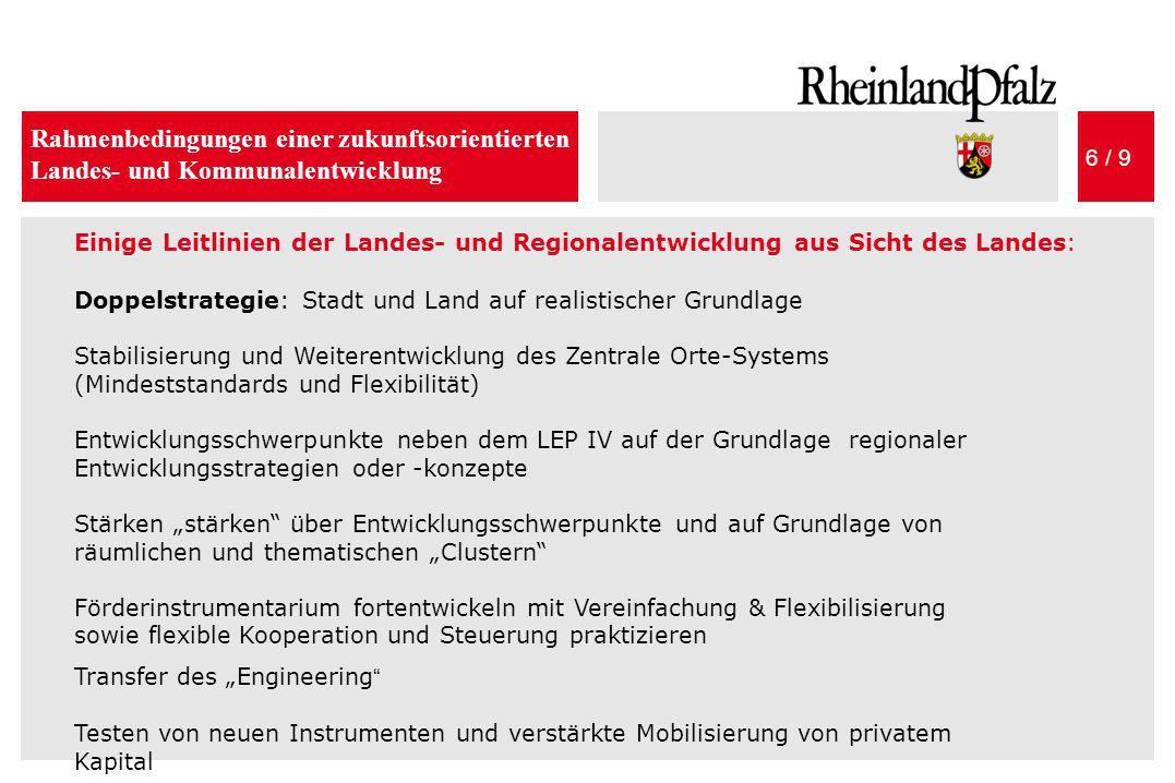 Rahmenbedingungen einer zukunftsorientierten Landes- und Kommunalentwicklung 6 / 9 Einige Leitlinien der Landes- und Regionalentwicklung aus Sicht des