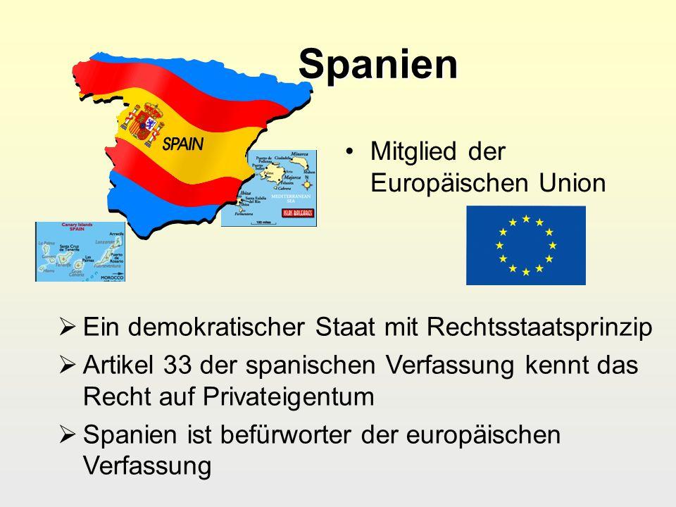 Spanien Spanien Mitglied der Europäischen Union Ein demokratischer Staat mit Rechtsstaatsprinzip Artikel 33 der spanischen Verfassung kennt das Recht
