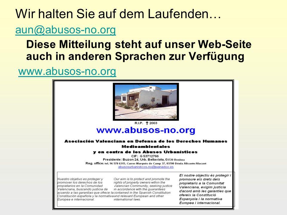 Wir halten Sie auf dem Laufenden… aun@abusos-no.org Diese Mitteilung steht auf unser Web-Seite auch in anderen Sprachen zur Verfügung www.abusos-no.or