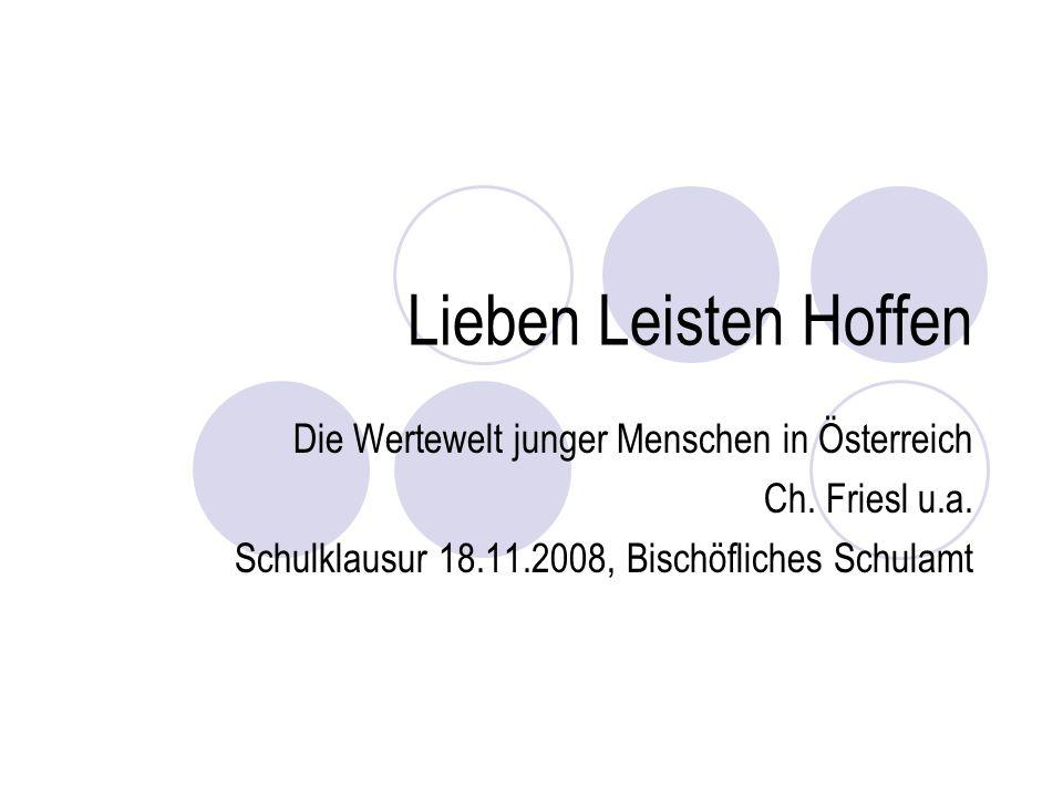 Lieben Leisten Hoffen Die Wertewelt junger Menschen in Österreich Ch.