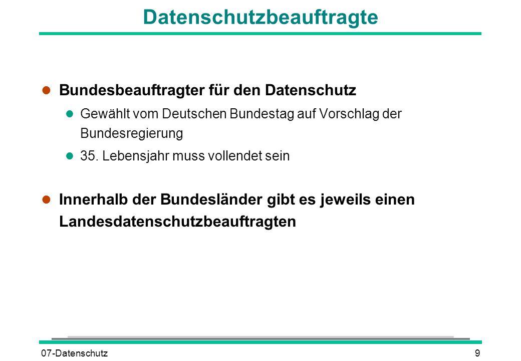 07-Datenschutz9 Datenschutzbeauftragte l Bundesbeauftragter für den Datenschutz l Gewählt vom Deutschen Bundestag auf Vorschlag der Bundesregierung l
