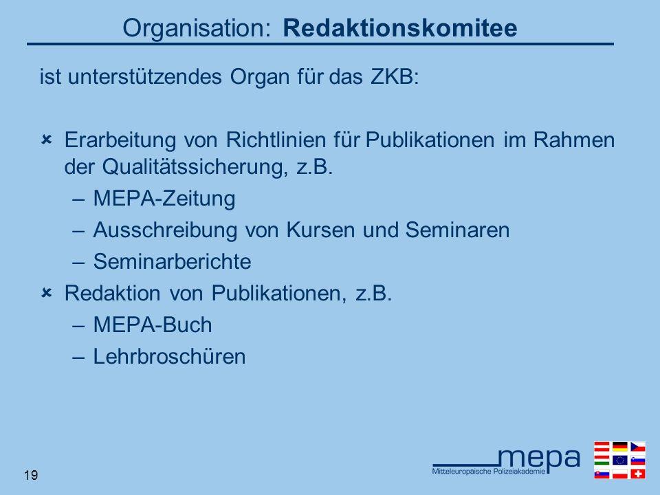 19 Organisation: Redaktionskomitee ist unterstützendes Organ für das ZKB: Erarbeitung von Richtlinien für Publikationen im Rahmen der Qualitätssicherung, z.B.