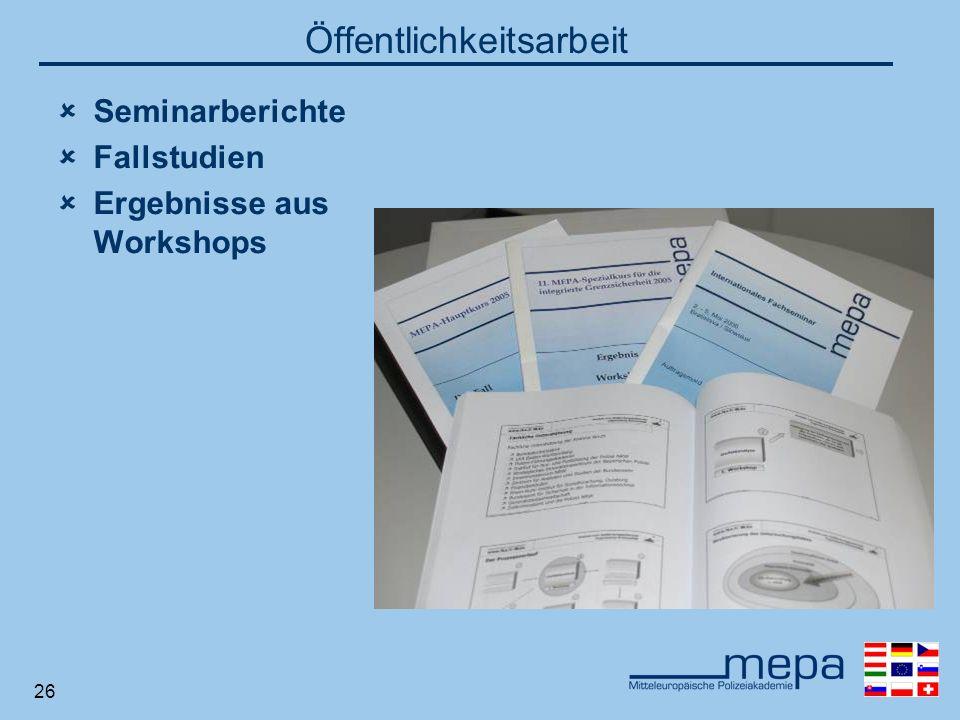 26 Öffentlichkeitsarbeit Seminarberichte Fallstudien Ergebnisse aus Workshops