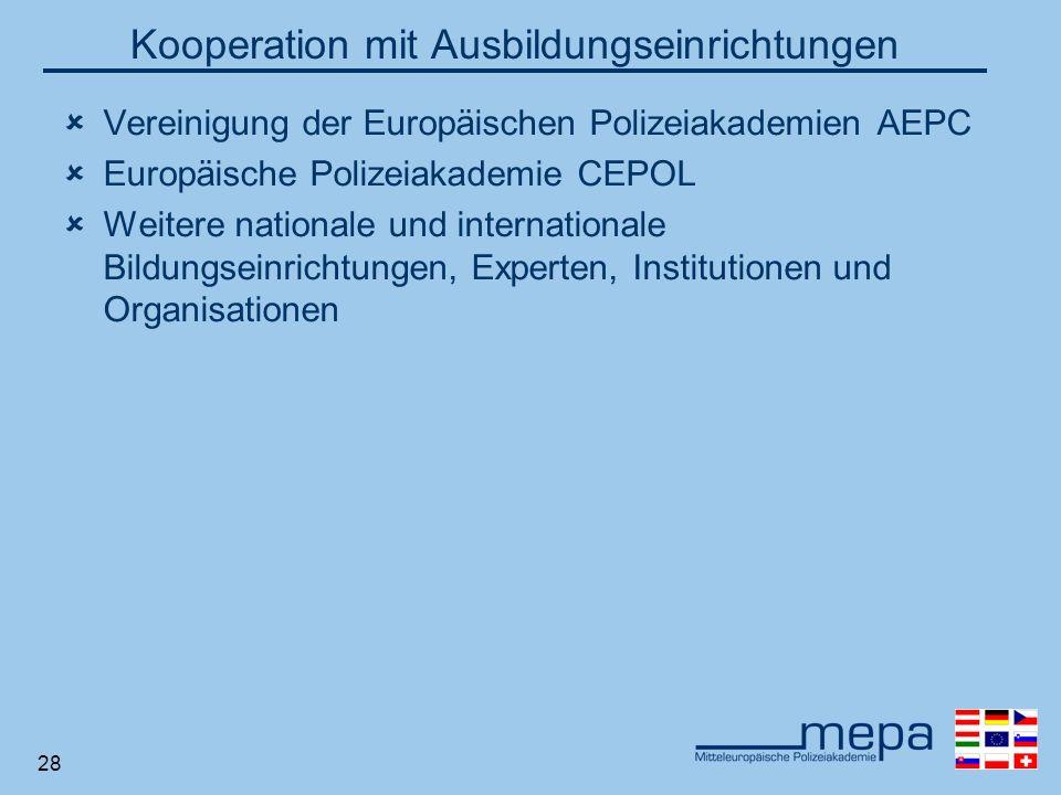 28 Kooperation mit Ausbildungseinrichtungen Vereinigung der Europäischen Polizeiakademien AEPC Europäische Polizeiakademie CEPOL Weitere nationale und internationale Bildungseinrichtungen, Experten, Institutionen und Organisationen