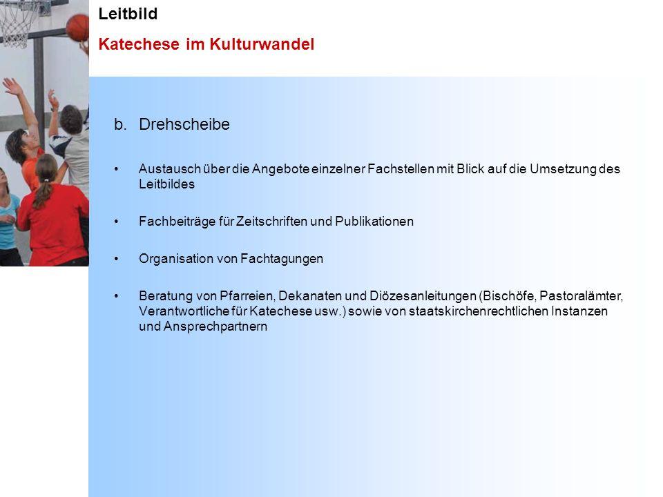 Leitbild Katechese im Kulturwandel b.Drehscheibe Austausch über die Angebote einzelner Fachstellen mit Blick auf die Umsetzung des Leitbildes Fachbeit