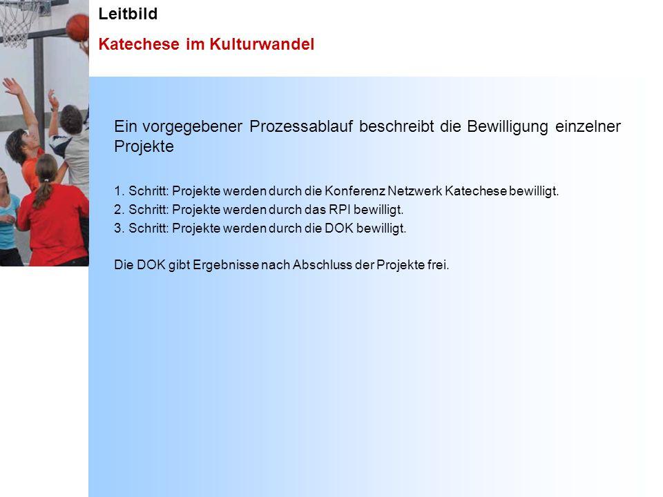 Leitbild Katechese im Kulturwandel Ein vorgegebener Prozessablauf beschreibt die Bewilligung einzelner Projekte 1. Schritt: Projekte werden durch die