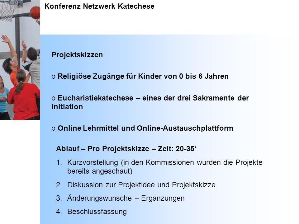 Konferenz Netzwerk Katechese Projektskizzen o Religiöse Zugänge für Kinder von 0 bis 6 Jahren o Eucharistiekatechese – eines der drei Sakramente der I