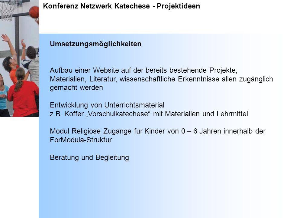 Konferenz Netzwerk Katechese - Projektideen Umsetzungsmöglichkeiten Aufbau einer Website auf der bereits bestehende Projekte, Materialien, Literatur,