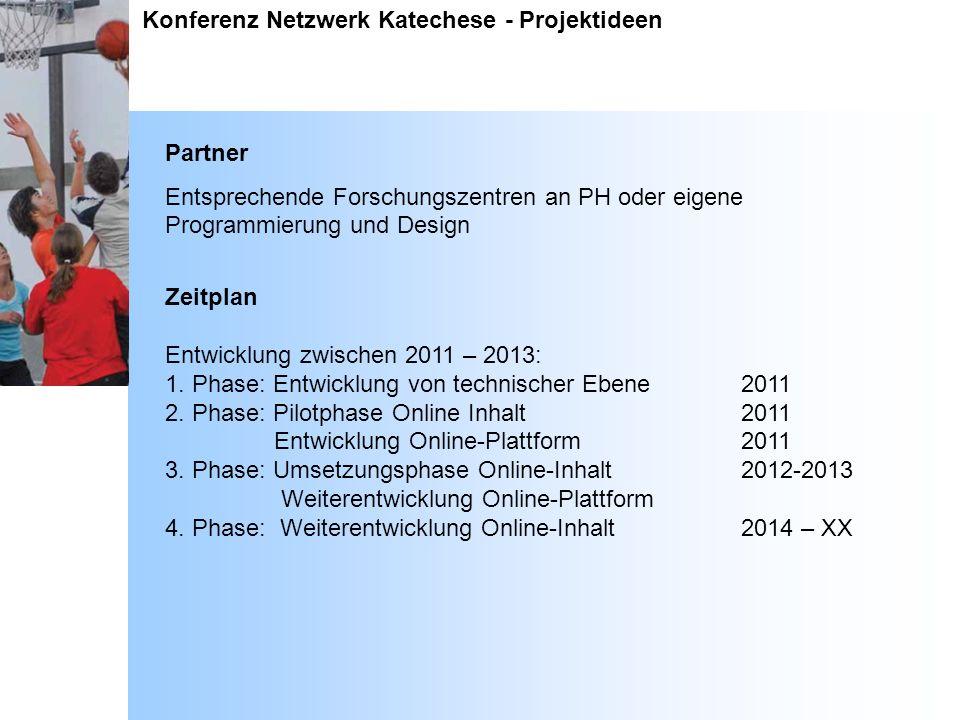 Konferenz Netzwerk Katechese - Projektideen Partner Entsprechende Forschungszentren an PH oder eigene Programmierung und Design Zeitplan Entwicklung z