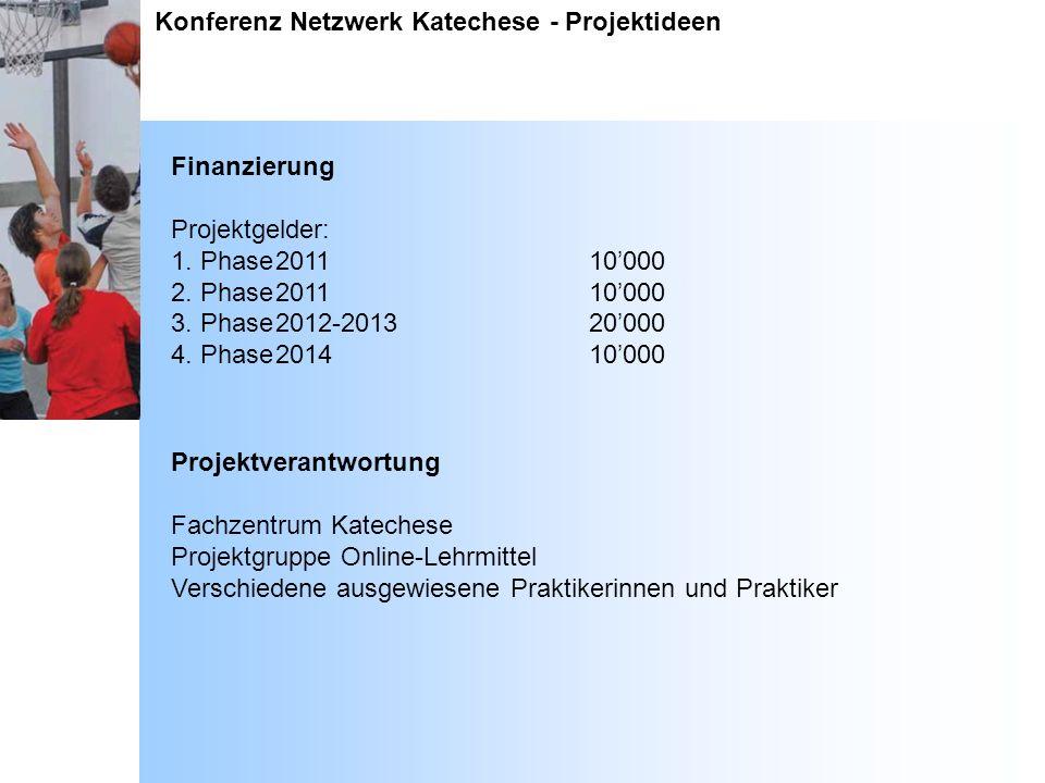 Konferenz Netzwerk Katechese - Projektideen Finanzierung Projektgelder: 1. Phase201110000 2. Phase201110000 3. Phase2012-201320000 4. Phase201410000 P