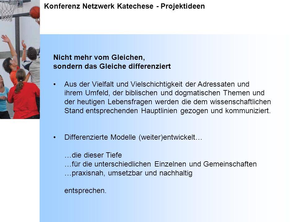 Konferenz Netzwerk Katechese - Projektideen Nicht mehr vom Gleichen, sondern das Gleiche differenziert Aus der Vielfalt und Vielschichtigkeit der Adre