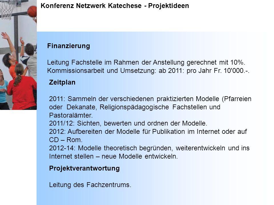 Konferenz Netzwerk Katechese - Projektideen Finanzierung Leitung Fachstelle im Rahmen der Anstellung gerechnet mit 10%. Kommissionsarbeit und Umsetzun