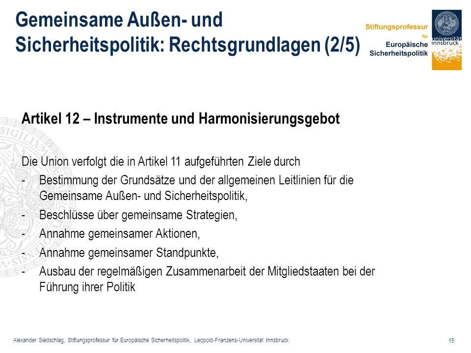 Alexander Siedschlag, Stiftungsprofessur für Europäische Sicherheitspolitik, Leopold-Franzens-Universität Innsbruck 15 Gemeinsame Außen- und Sicherhei