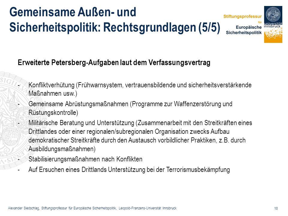 Alexander Siedschlag, Stiftungsprofessur für Europäische Sicherheitspolitik, Leopold-Franzens-Universität Innsbruck 18 Gemeinsame Außen- und Sicherhei