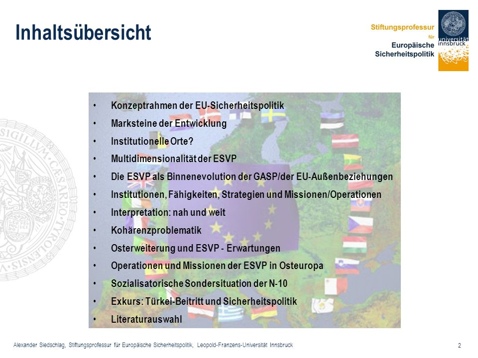 Alexander Siedschlag, Stiftungsprofessur für Europäische Sicherheitspolitik, Leopold-Franzens-Universität Innsbruck 2 Inhaltsübersicht Konzeptrahmen d