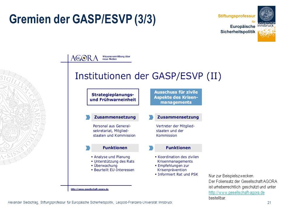 Alexander Siedschlag, Stiftungsprofessur für Europäische Sicherheitspolitik, Leopold-Franzens-Universität Innsbruck 21 Gremien der GASP/ESVP (3/3) Nur