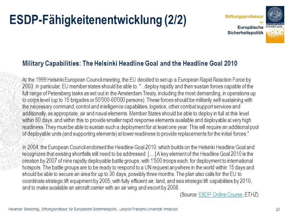 Alexander Siedschlag, Stiftungsprofessur für Europäische Sicherheitspolitik, Leopold-Franzens-Universität Innsbruck 23 ESDP-Fähigkeitenentwicklung (2/