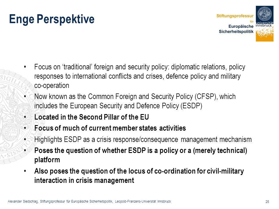 Alexander Siedschlag, Stiftungsprofessur für Europäische Sicherheitspolitik, Leopold-Franzens-Universität Innsbruck 26 Enge Perspektive Focus on tradi