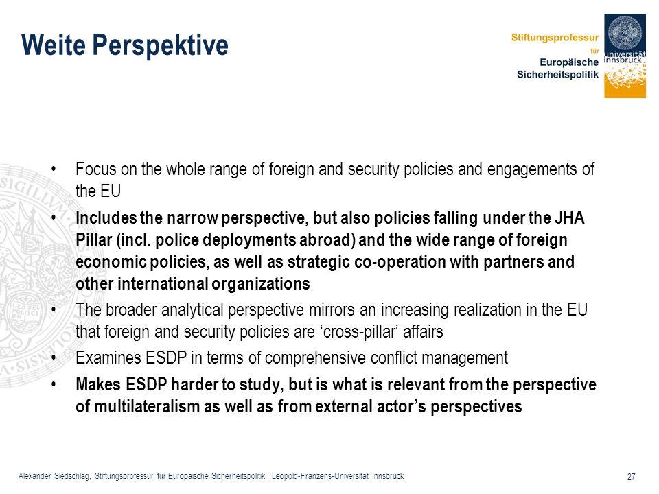 Alexander Siedschlag, Stiftungsprofessur für Europäische Sicherheitspolitik, Leopold-Franzens-Universität Innsbruck 27 Weite Perspektive Focus on the