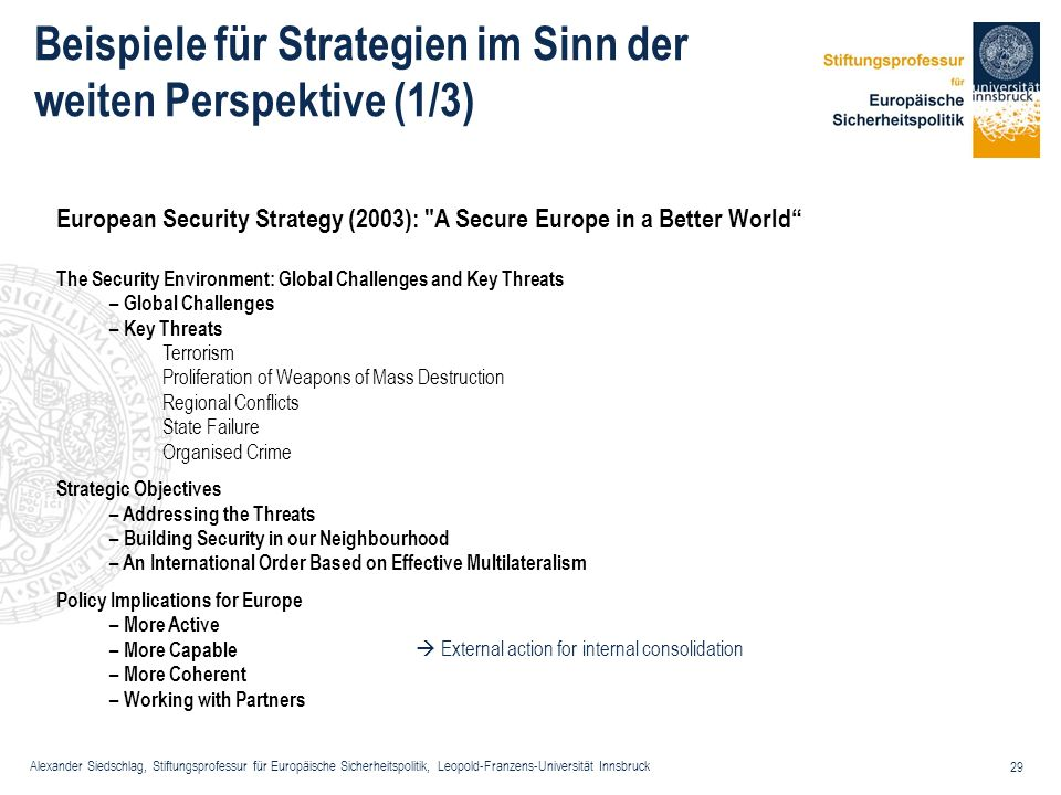 Alexander Siedschlag, Stiftungsprofessur für Europäische Sicherheitspolitik, Leopold-Franzens-Universität Innsbruck 29 European Security Strategy (200