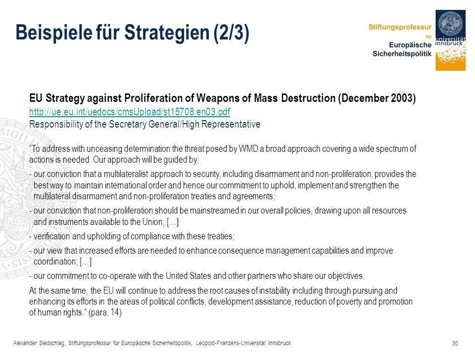 Alexander Siedschlag, Stiftungsprofessur für Europäische Sicherheitspolitik, Leopold-Franzens-Universität Innsbruck 30 Beispiele für Strategien (2/3)