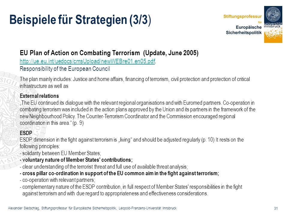 Alexander Siedschlag, Stiftungsprofessur für Europäische Sicherheitspolitik, Leopold-Franzens-Universität Innsbruck 31 Beispiele für Strategien (3/3 )