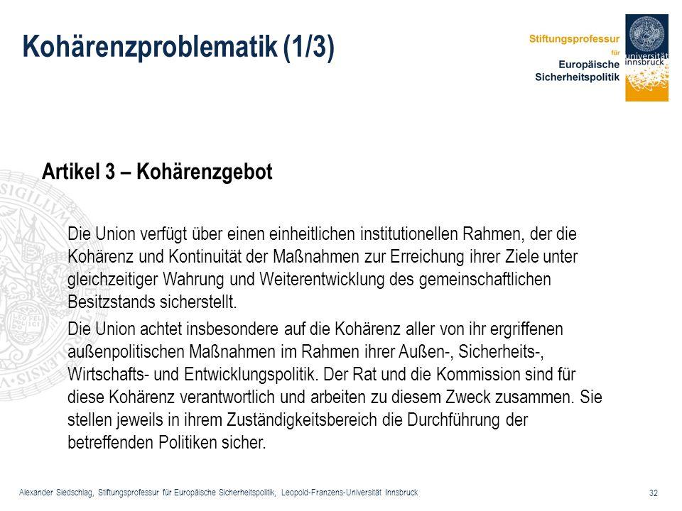 Alexander Siedschlag, Stiftungsprofessur für Europäische Sicherheitspolitik, Leopold-Franzens-Universität Innsbruck 32 Kohärenzproblematik (1/3) Artik
