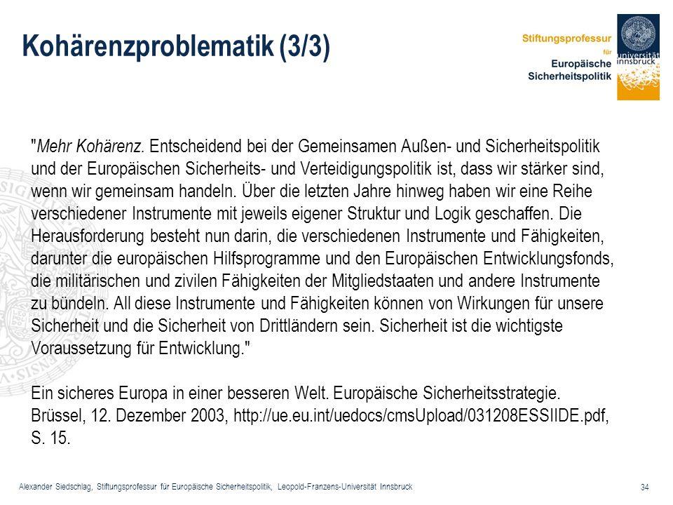 Alexander Siedschlag, Stiftungsprofessur für Europäische Sicherheitspolitik, Leopold-Franzens-Universität Innsbruck 34 Kohärenzproblematik (3/3)