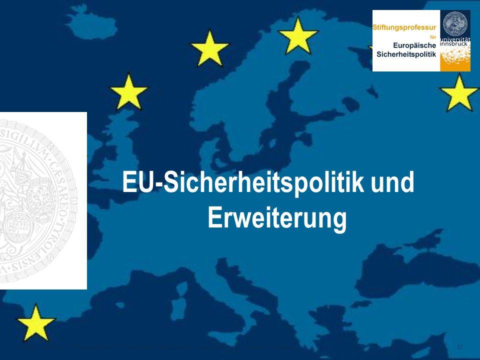 Alexander Siedschlag, Stiftungsprofessur für Europäische Sicherheitspolitik, Leopold-Franzens-Universität Innsbruck 37 EU-Sicherheitspolitik und Erwei