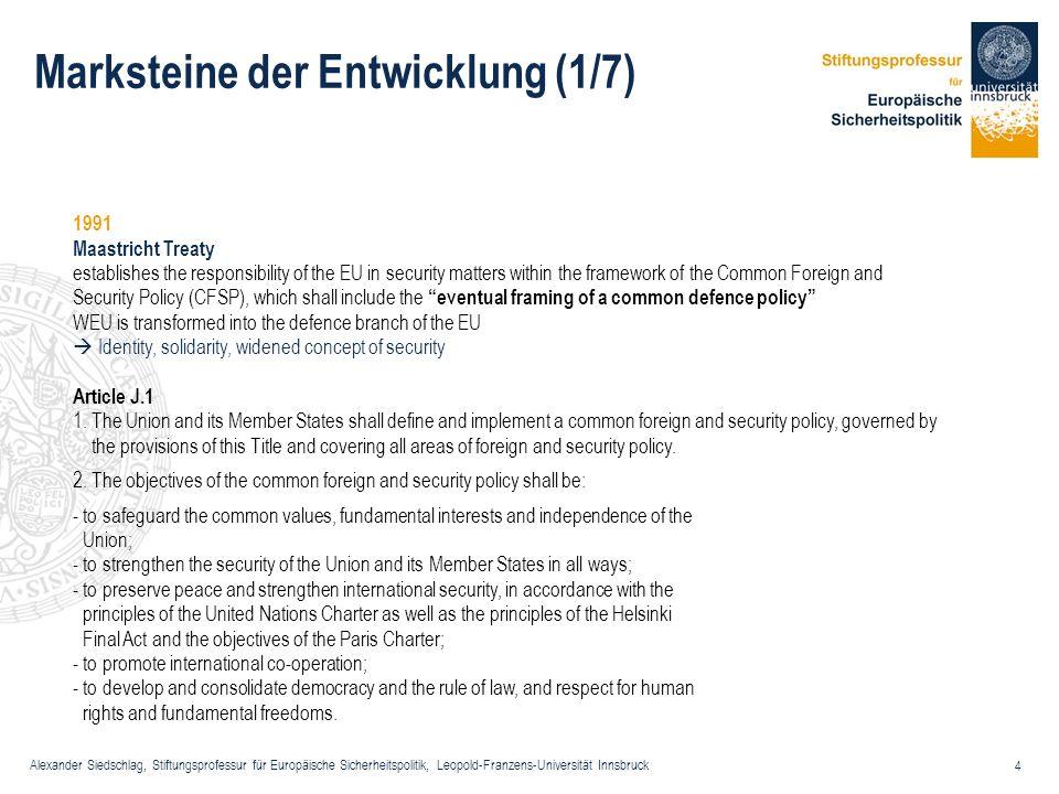 Alexander Siedschlag, Stiftungsprofessur für Europäische Sicherheitspolitik, Leopold-Franzens-Universität Innsbruck 4 Marksteine der Entwicklung (1/7)