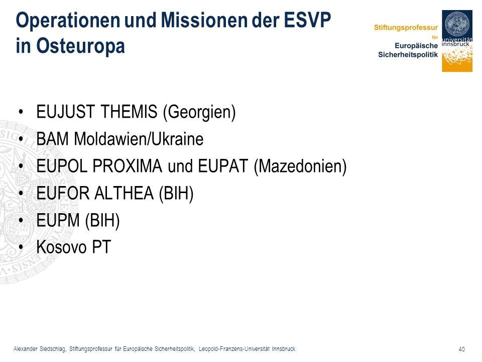 Alexander Siedschlag, Stiftungsprofessur für Europäische Sicherheitspolitik, Leopold-Franzens-Universität Innsbruck 40 Operationen und Missionen der E