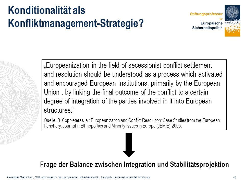 Alexander Siedschlag, Stiftungsprofessur für Europäische Sicherheitspolitik, Leopold-Franzens-Universität Innsbruck 41 Europeanization in the field of