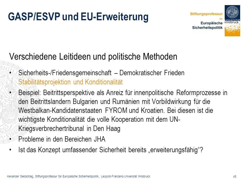 Alexander Siedschlag, Stiftungsprofessur für Europäische Sicherheitspolitik, Leopold-Franzens-Universität Innsbruck 45 GASP/ESVP und EU-Erweiterung Ve