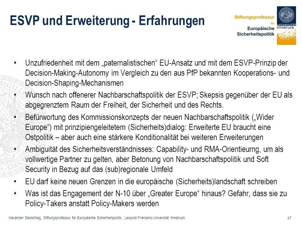 Alexander Siedschlag, Stiftungsprofessur für Europäische Sicherheitspolitik, Leopold-Franzens-Universität Innsbruck 47 ESVP und Erweiterung - Erfahrun