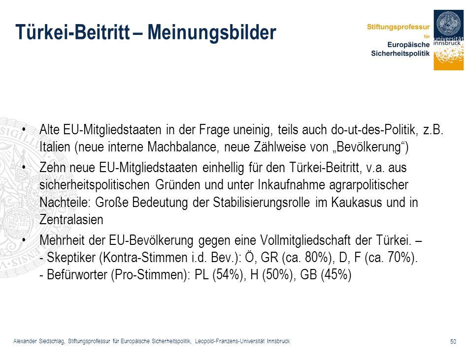 Alexander Siedschlag, Stiftungsprofessur für Europäische Sicherheitspolitik, Leopold-Franzens-Universität Innsbruck 50 Türkei-Beitritt – Meinungsbilde
