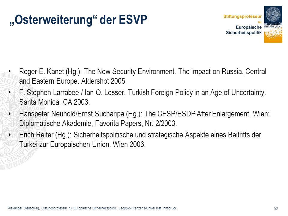 Alexander Siedschlag, Stiftungsprofessur für Europäische Sicherheitspolitik, Leopold-Franzens-Universität Innsbruck 53 Osterweiterung der ESVP Roger E