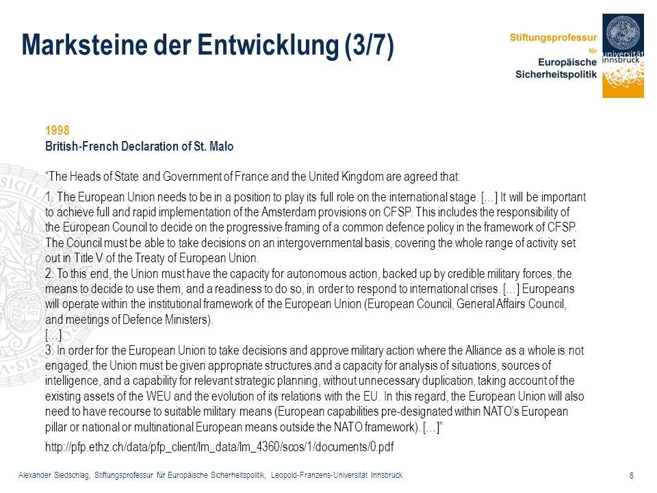 Alexander Siedschlag, Stiftungsprofessur für Europäische Sicherheitspolitik, Leopold-Franzens-Universität Innsbruck 6 Marksteine der Entwicklung (3/7)
