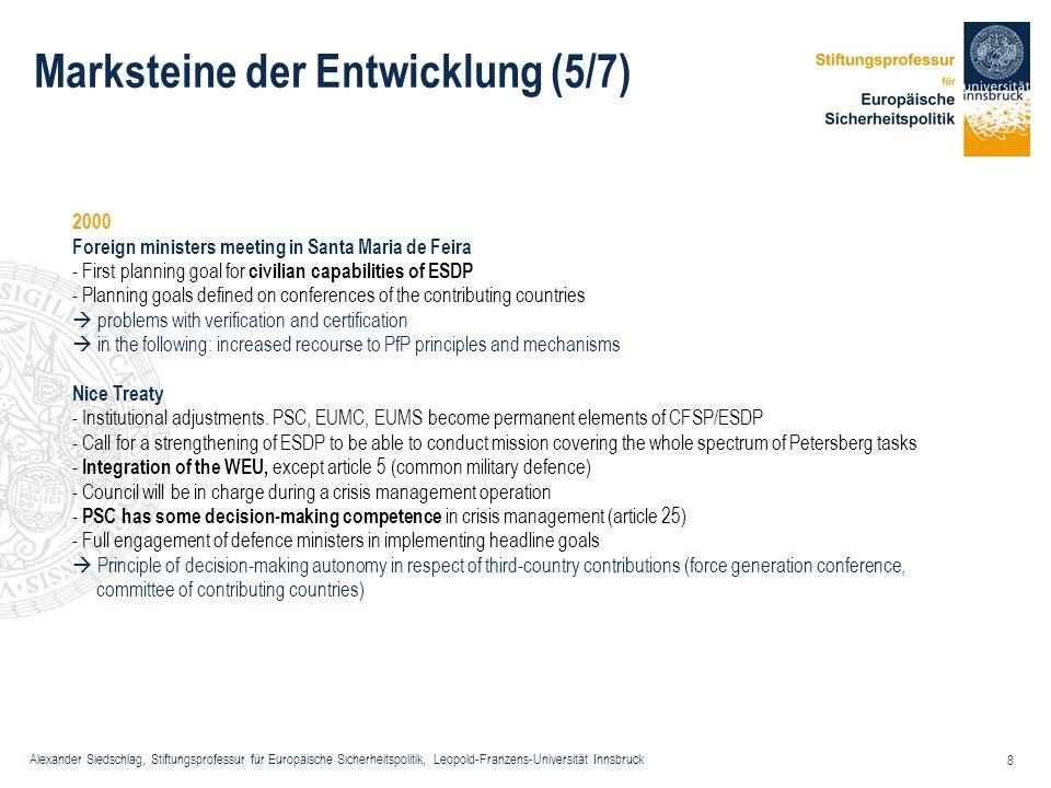 Alexander Siedschlag, Stiftungsprofessur für Europäische Sicherheitspolitik, Leopold-Franzens-Universität Innsbruck 39 Osterweiterung und ESVP - Erwartungen Kohärenzverlust Subregionalismen Kein Einsatz für die Weiterentwicklung der militärischen/zivilen Fähigkeiten, sondern ESVP eher als Voice Opportunity gesehen Sozialisationskonflikte in Bezug auf EU-basierte Security Governance Wechselnde Koalitionen im Decision-Making-Prozess der ESVP Dadurch Verstärkung struktureller Cleavages in der EU Wenig Bereitschaft zu Souveränitätstransfer Aber Erwartung von Mitzieheffekten der alten EU-Mitlgieder im Abstimmungsverhalten in internationalen Organisationen und somit Beitrag zur Stärkung des effektiven Multilateralismus gemäß der Europäischen Sicherheitsstrategie Spezifikum: OE-Staaten als Sicherheitsliferanten und Sicherheitskonsumenten!