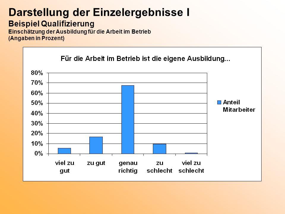 Darstellung der Einzelergebnisse I Beispiel Qualifizierung Einschätzung der Ausbildung für die Arbeit im Betrieb (Angaben in Prozent)