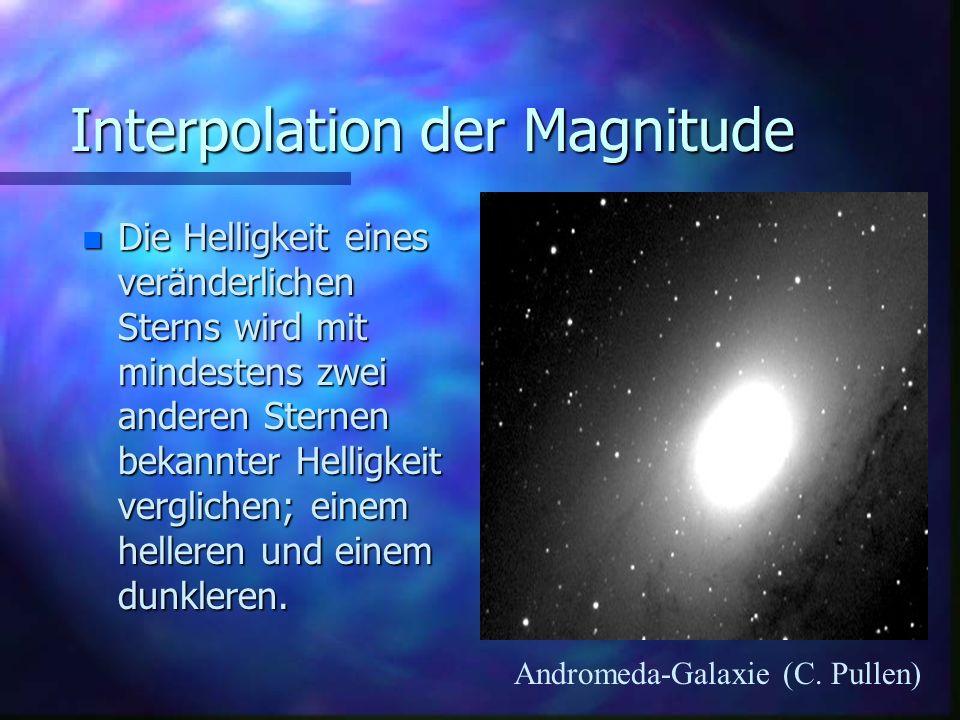 Interpolation der Magnitude n Ähnlich dem Benzintank-Beispiel kann die Magnitude eines Sterns geschätzt werden, dessen Helligkeit gerade zwischen einem mit Magnitude 5,0 und einem mit 6,0 liegt.