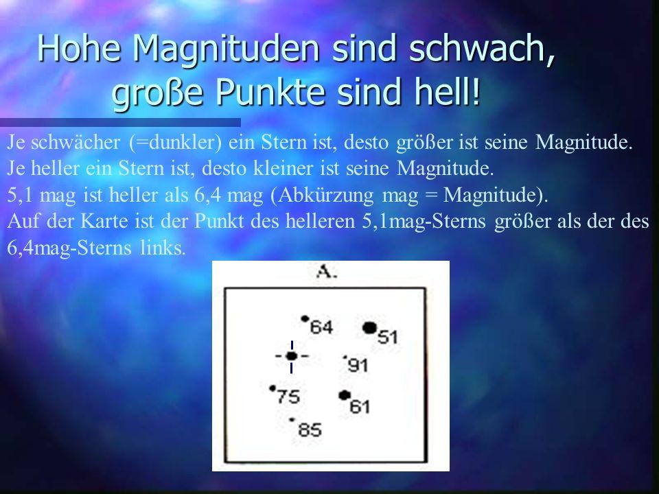 Die erste Schätzung Ist der Veränderliche heller oder schwächer als der hellste Stern (5,1 mag) der Karte?