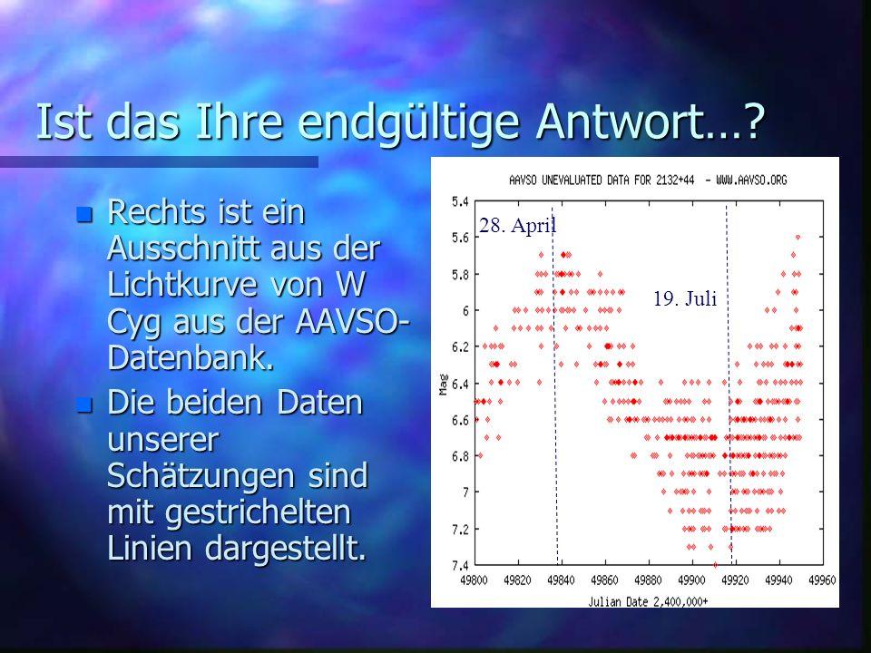 Ist das Ihre endgültige Antwort….n Am 28. April lagen die Beobachtungen zwischen 6,3 und 5,7 mag.