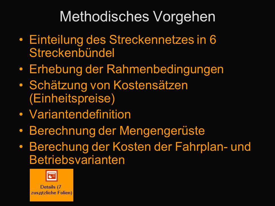 Methodisches Vorgehen Einteilung des Streckennetzes in 6 Streckenbündel Erhebung der Rahmenbedingungen Schätzung von Kostensätzen (Einheitspreise) Variantendefinition Berechnung der Mengengerüste Berechung der Kosten der Fahrplan- und Betriebsvarianten