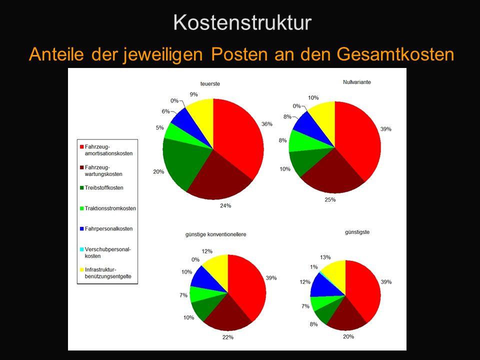 Kostenstruktur Anteile der jeweiligen Posten an den Gesamtkosten