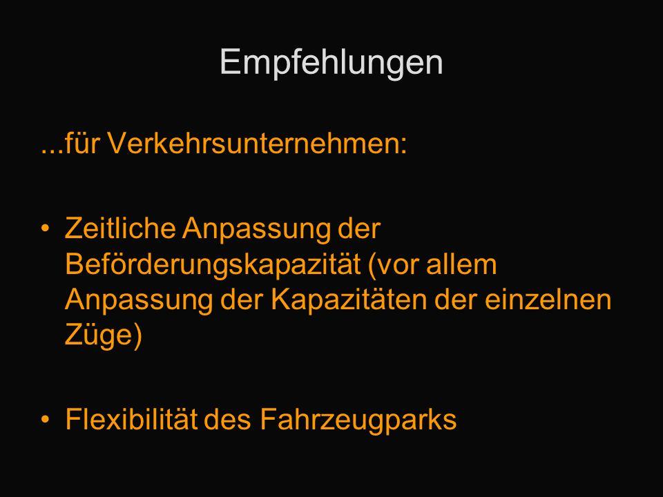 Empfehlungen...für Verkehrsunternehmen: Zeitliche Anpassung der Beförderungskapazität (vor allem Anpassung der Kapazitäten der einzelnen Züge) Flexibilität des Fahrzeugparks